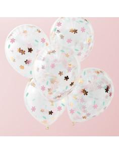 5-ballons-confettis-fleurs-pastels-rose-gold-decoration-fete-boheme-champetre