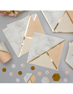16-serviettes-effet-marbre- peche-et-dore-decoration-baby-shower-bapteme-anniversaire-mariage