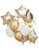 Kit 12 Ballons Confettis, Etoiles, Ronds Dorés Déco Fête