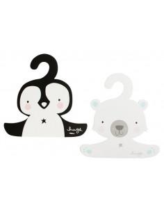 2 Cintres en Carton Ours Polaire et Pingouin A Little Lovely Company