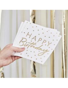 16 Serviettes Happy Birthday et Pois Dorés Décoration Anniversaire Enfant Adulte