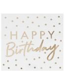 16 Serviettes Happy Birthday et Pois Dorés Déco Table Anniversaire