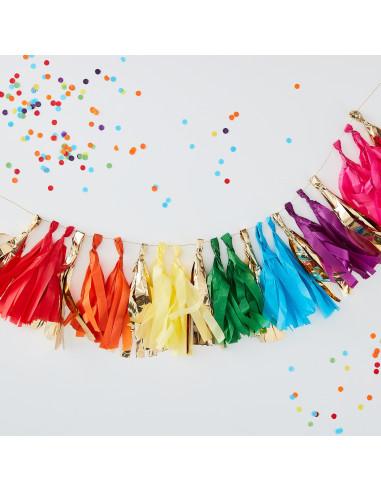 Guirlande Tassel Arc en Ciel Multicolore et Or