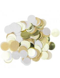 Confettis de Table Kraft, Blanc et Or 3 Cms