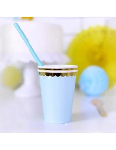 gobelets-bleu-pastel-bordure-doree-deco-pastel-baby-shower-bapteme-anniversaire-mariage