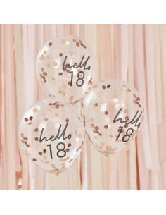 5 Ballons 18 Ans Hello 18 Confettis Rose Gold