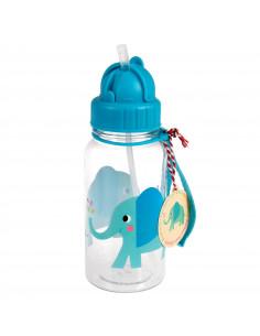 Gourde Eléphant Bleu avec Paille Intégrée
