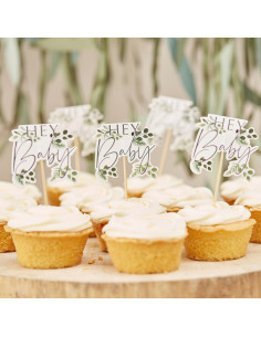 12 Cake Toppers Hey Baby et Feuillages
