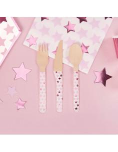 24-couverts-en-bois-etoiles-roses-deco-de-table-baby-shower-bapteme-anniversaire-evjf