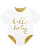 20 Serviettes Body Blanc Hello Baby Doré