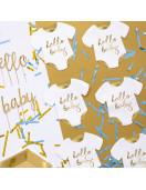 20 Serviettes Body Blanc Hello Baby Doré Déco Table Baby Shower Baptême