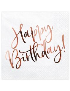 20 Serviettes Happy Birthday Rose Gold