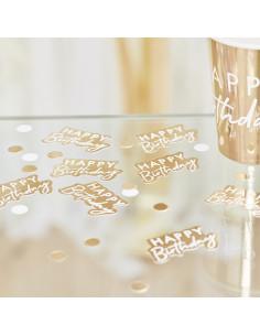 Confettis de Table Happy Birthday Dorés