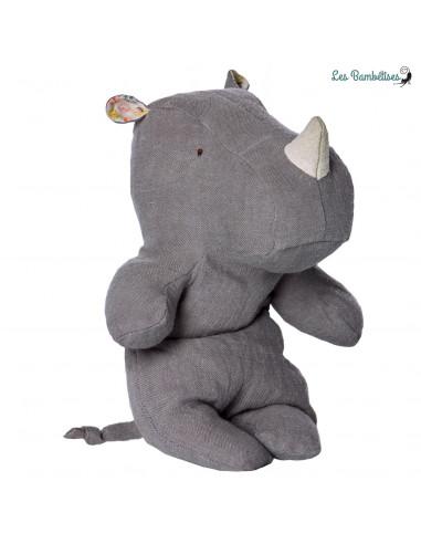 Petit Rhino Lin Bleu Grisé 22 Cms Maileg