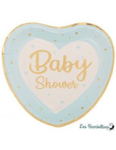 8 Assiettes Coeurs Baby Shower Bleu et Or