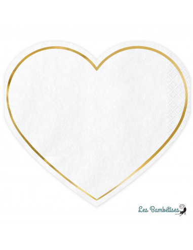 20 Petites Serviettes Coeur Blanc Liseré Or