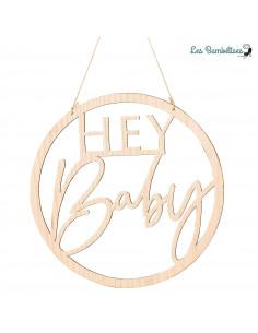 Cadre Hey Baby en Bois Ciselé à Suspendre