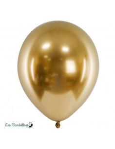 10 Ballons de Baudruche Chrome Doré