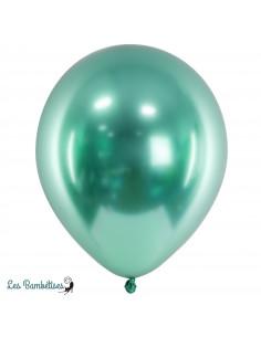 10 Ballons de Baudruche Chrome Vert Menthe
