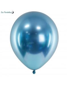 10 Ballons de Baudruche Chrome Bleu