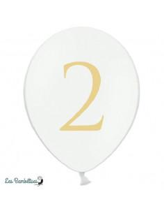 5 Ballons de Baudruche Blancs Chiffre 2 Gris