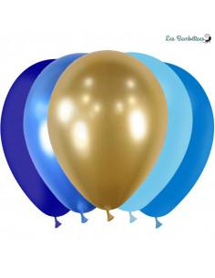 20 Ballons de Baudruche Bleus & Or Assortis