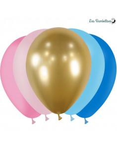 20 Ballons Bleus, Roses & Or Assortis