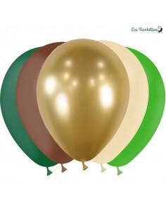 20 Ballons Jungle Vert Doré Ivoire Chocolat