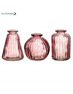 3 Petits Vases en Verre Transparent Rose