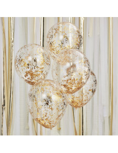 5 Ballons Confettis Irréguliers Dorés