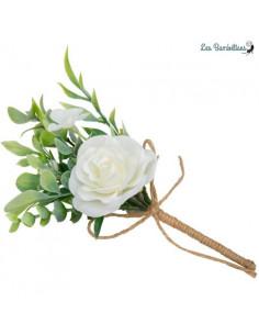 Bouquet Imitation Rose Blanche et Feuillage