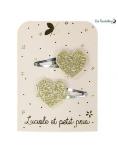 2 Barrettes Clips Coeurs Paillettes Dorées