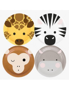 8 Petites Assiettes Animaux Safari My Little Day