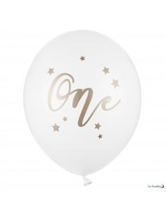 5 Ballons Blancs Mot One Anniversaire 1 An