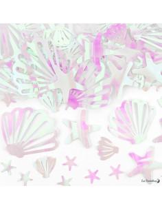 Confettis de Table Coquillages Blancs Irisés