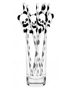10-pailles-en-papier-blanches-pois-noirs-panda-deco-baby-shower-bapteme-anniversaire-panda