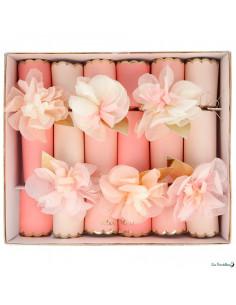 6 Crackers Fleurs Roses Meri Meri