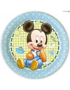 8 Assiettes en Carton Baby Mickey™ Bleu