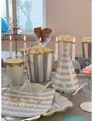 8 Assiettes Carrées Bleues et Or 22.5Cms Déco Table Pastel