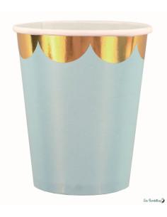 8 Gobelets Bleu Pastel Bordure Frise Dorée