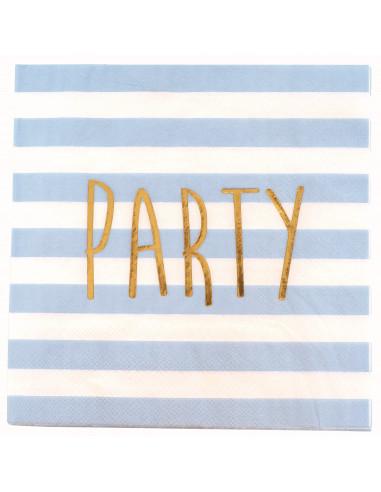 20 Serviettes Rayures Bleu Ciel Party Doré
