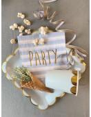 20 Serviettes Rayures Bleu Ciel Party Doré Déco Table Pastel