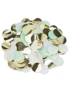 confettis-vert-menthe-blancs-dores-3-cms-decoration-de-table-ballons-confettis