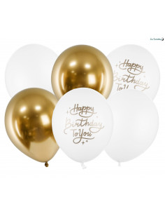 6 Ballons Blancs & Or Happy Birthday to You