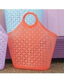 Grand Panier Rétro en Plastique Orange Fluo