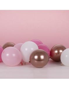 40 Petits Ballons 13 Cms Roses, Blancs, Rose Gold