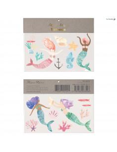 2 Planches de Tatouages Sirènes Meri Meri