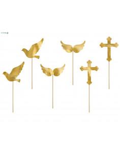 6 Cake Toppers Symboles Baptême ou Communion