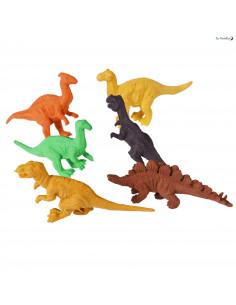 6 Gommes Dinosaures Colorées
