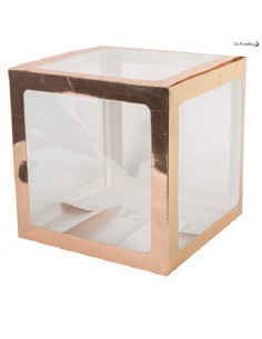 Cube à Ballons Transparent & Rose Gold